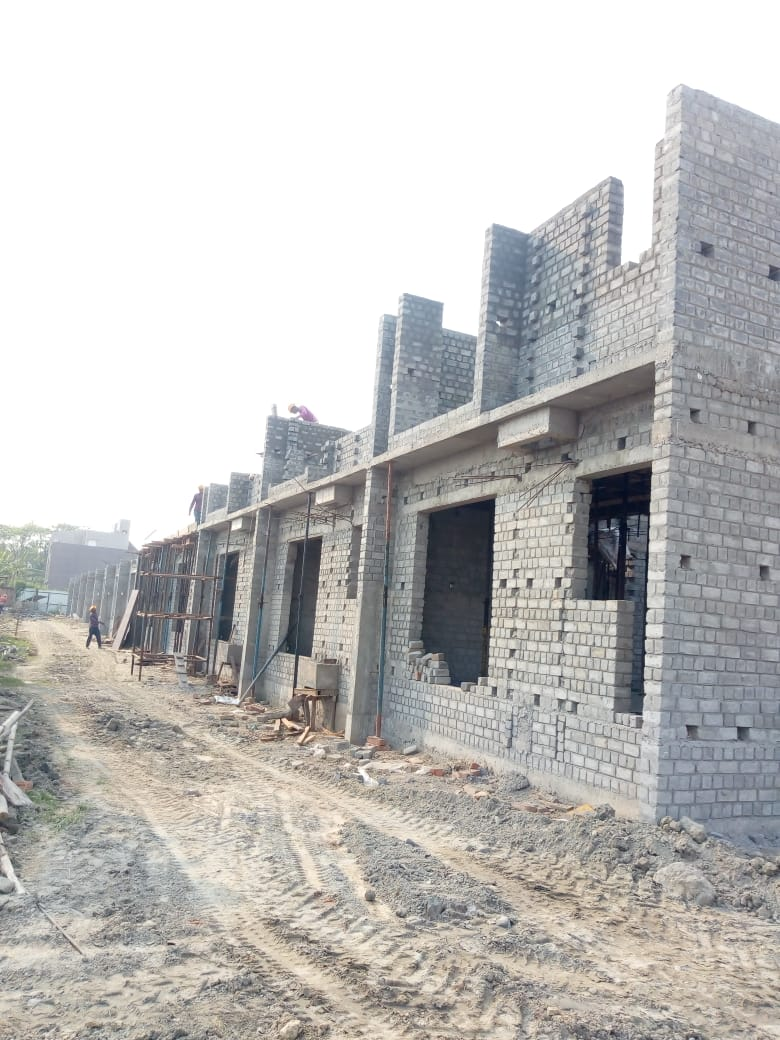 CLUSTER 34 (BUNGALOW NO. 53-64) : Foundation, Ground floor slab casting has been completed and 1st  floor slab casting of bungalow no. of 53,54 & 55 has been completed as on 31/03/2020