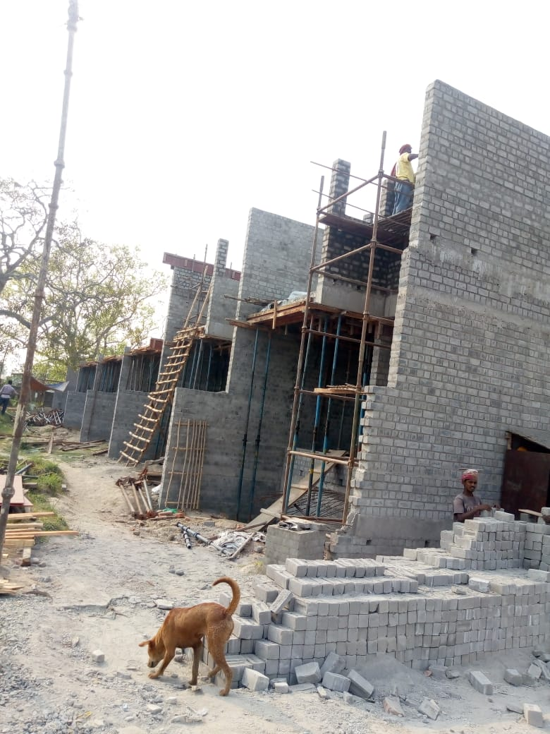 CLUSTER 26 (BUNGALOW NO. 123-127) :  Foundation, Ground floor slab casting has been completed and 1st  floor slab casting of bungalow no. of 126 & 127 has been completed as on 31/3/2020