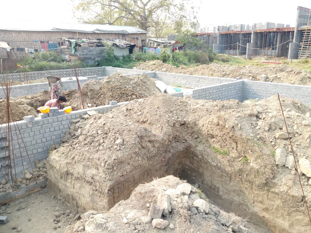 CLUSTER 19 (BUNGALOW NO. 164-167) :  Foundation work in progress as on 31/03/2020