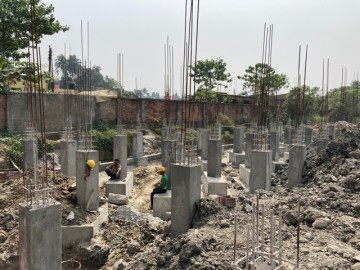 CLUSTER 13 (ROW HOUSE NO. 216-220): Foundation work in progress. Pile cap & tie beam work in progress as on 1.03 2021