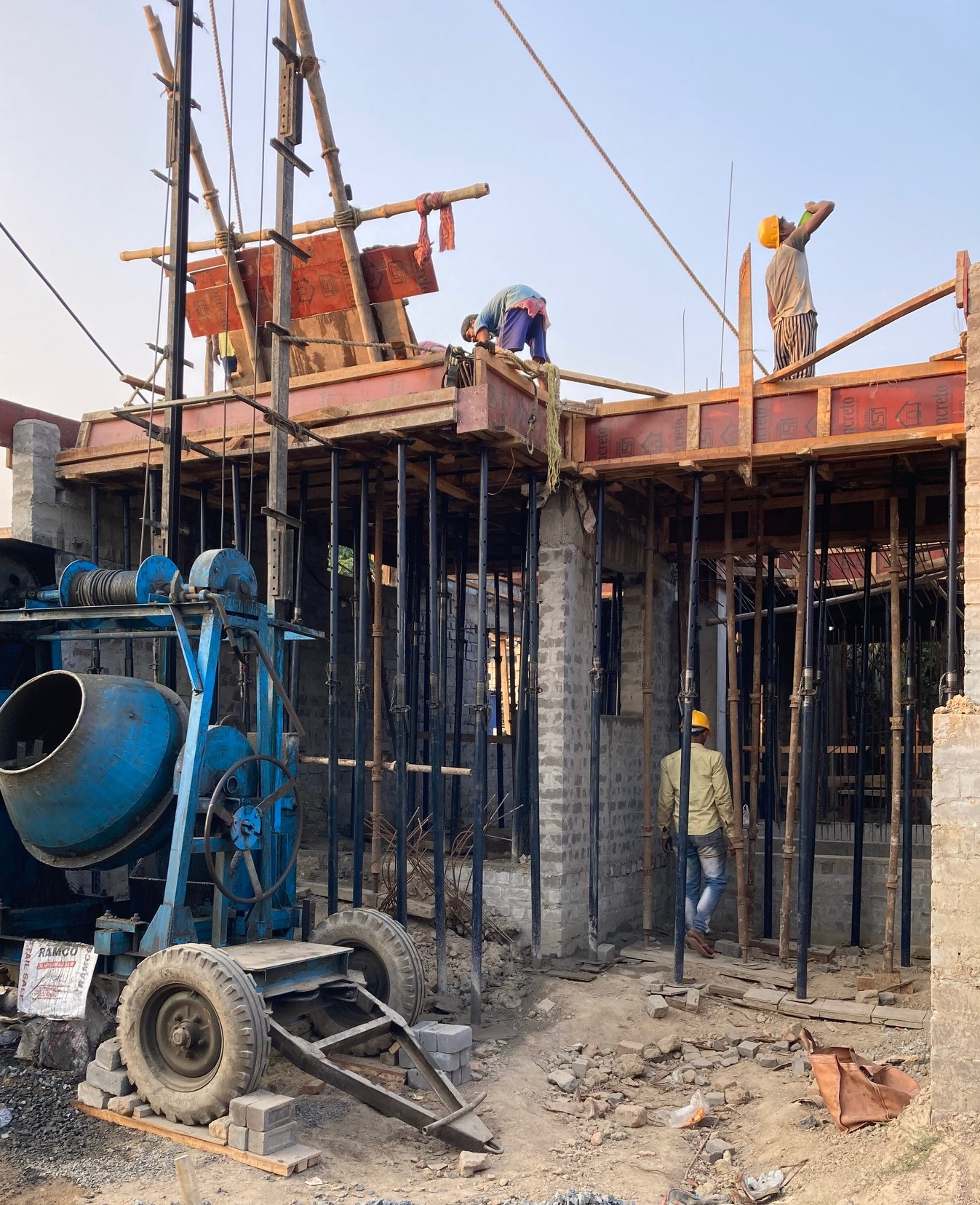 1st floor slab casting of row house no. 135 have been completed  as on 19.03.2021