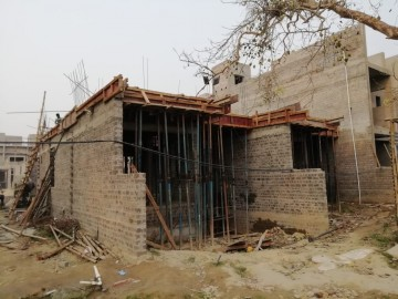 ground floor slab casting of row house no. 120 has been completed . 1st floor slab casting of row house no. 120 of cluster 26 have been completed as on 25.03.2021.
