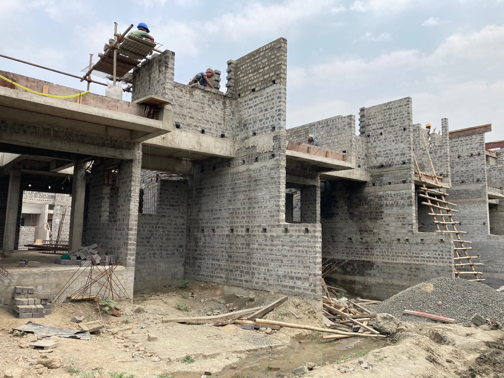 ground floor slab casting of row house no. 165, 166 & 167 of cluster 19  has been completed as on 27.03.2021