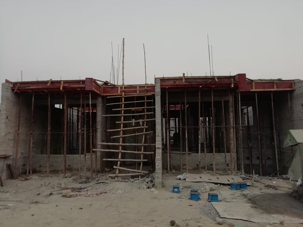 1st floor slab casting of row house no. 51 and 52 have been completed as on 01.04.2021