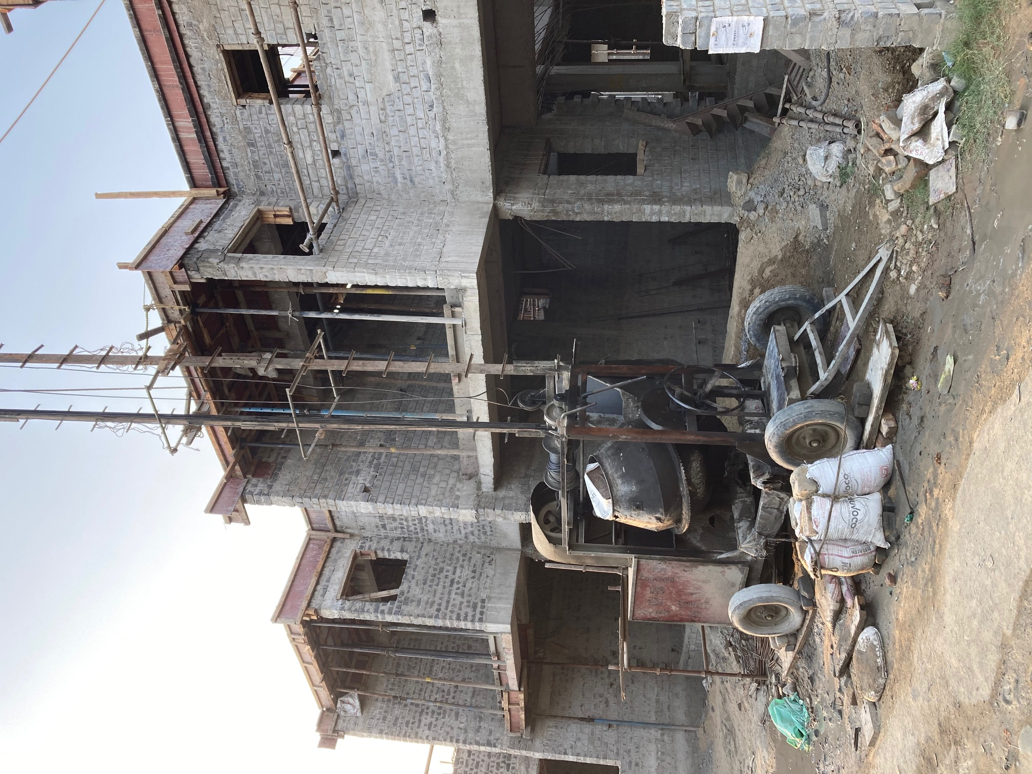 roof slab casting of row house no. 80 and 81 have been completed as on 03.04.2021