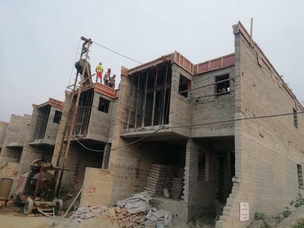 roof slab casting of row house no. 104, 105 and 106 have been completed for Nirvana as on 14.04.2021