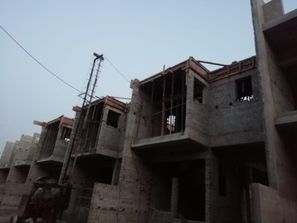 roof slab casting of row house no. 142, 143 and 144 have been completed as on 15.04.2021