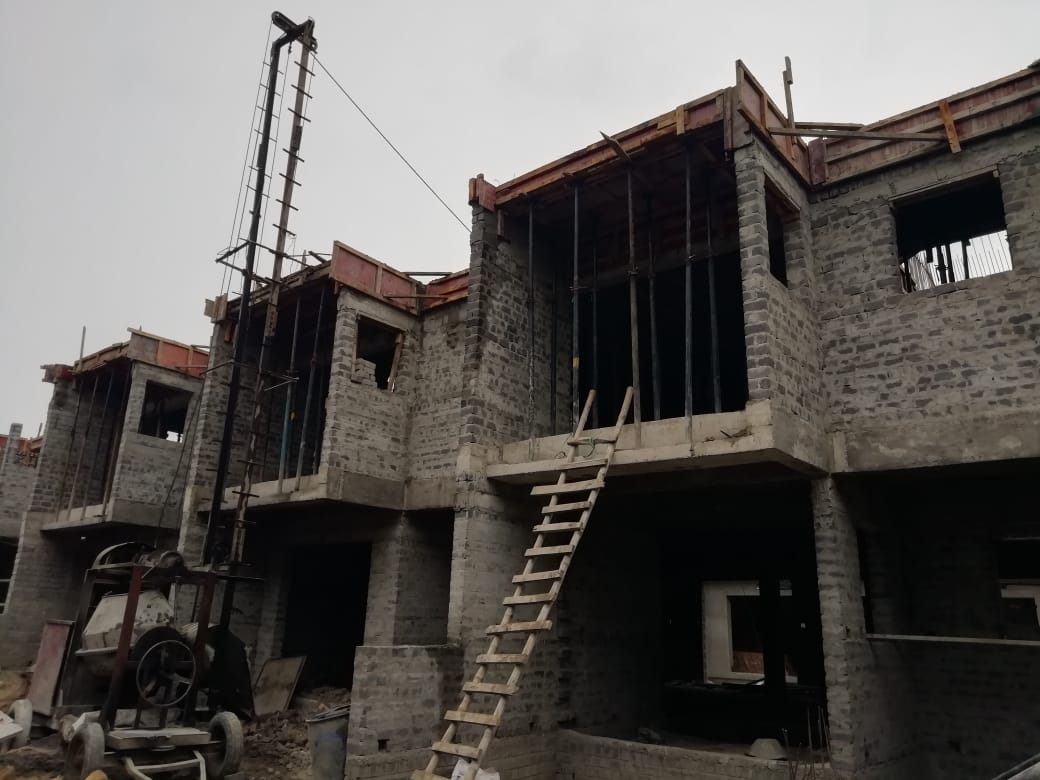 roof slab casting of row house no. 77, 78 and 79 have been completed as on 23.04.2021