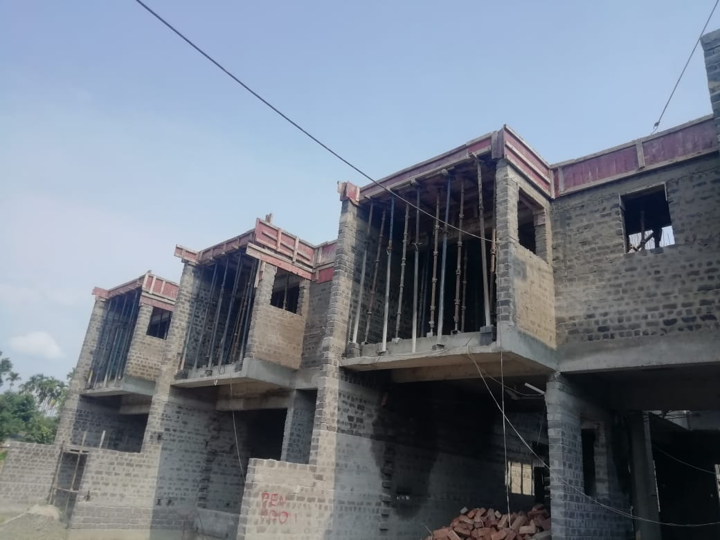 roof slab casting of row house no. 101, 102 have been completed as on 04.06.2021