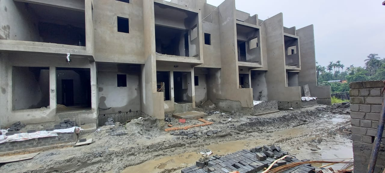 Ground floor slab casting of row house no. 171, 172, 173 & 174  have been completed  as on 18.06.2021