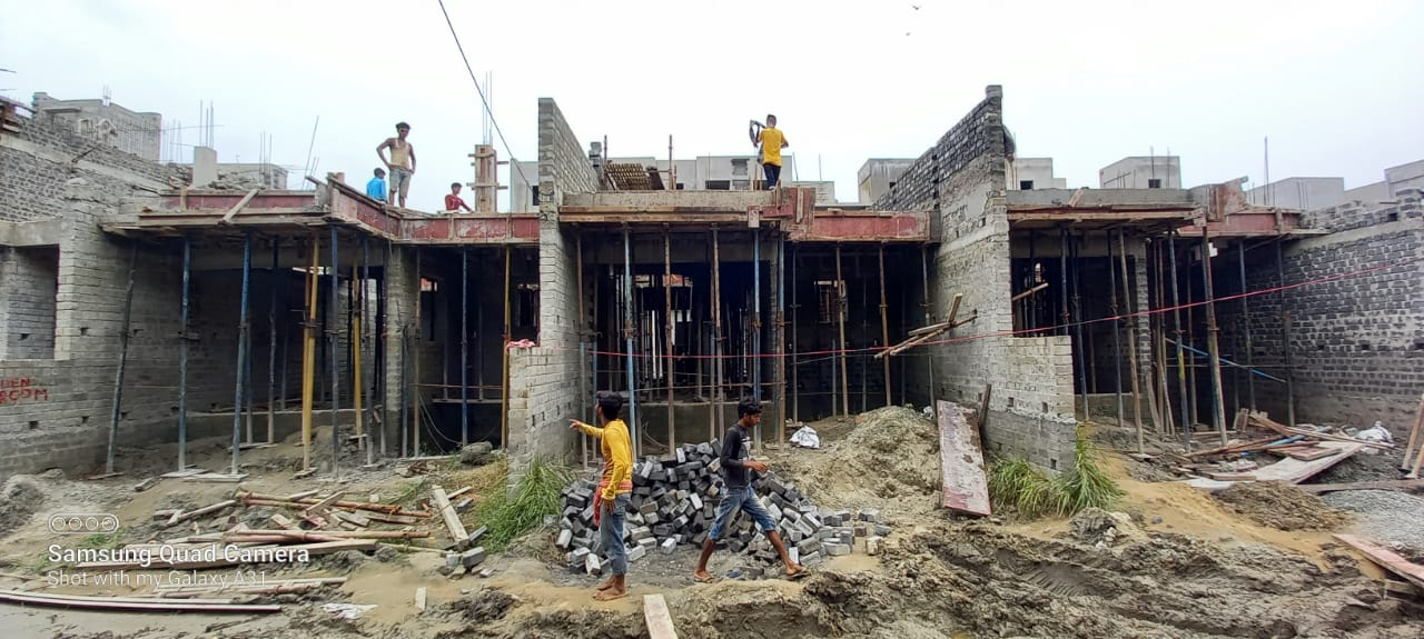 1st floor slab casting of row house no. 182, 183 & 184  have been completed as on 30.06.2021
