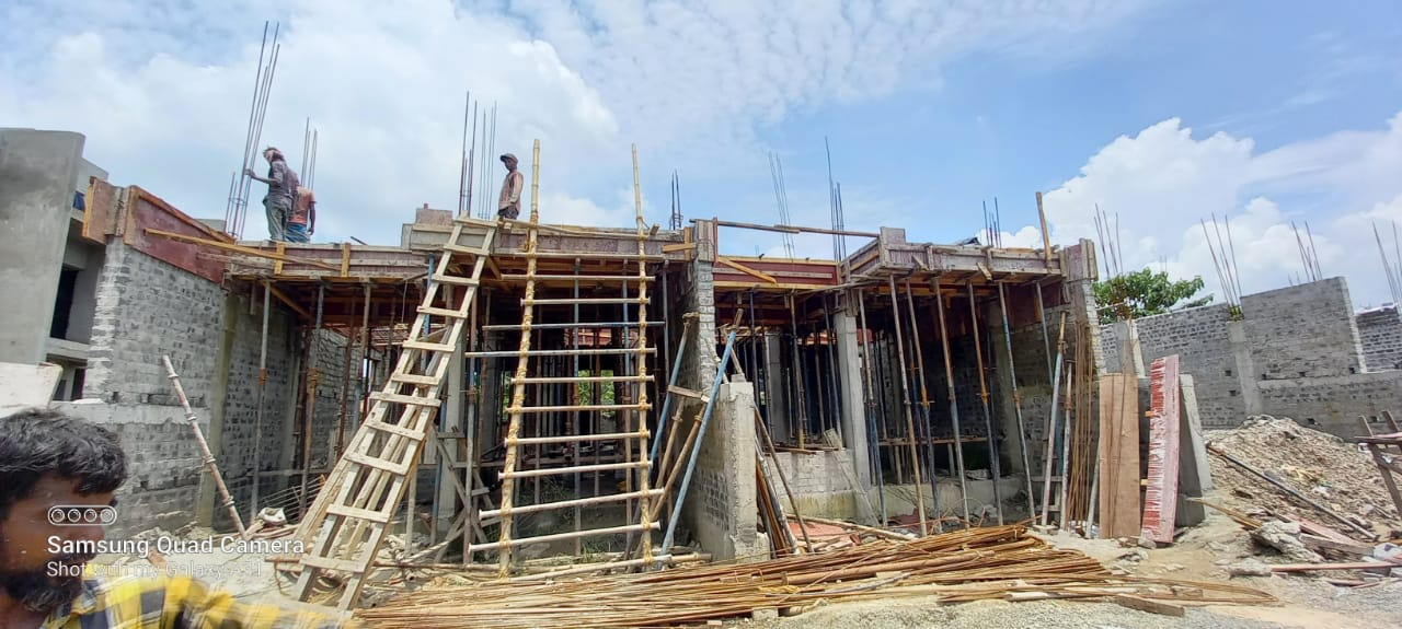 1st floor slab casting of row house no. 216 and 217 have been completed as on 18.07.2021