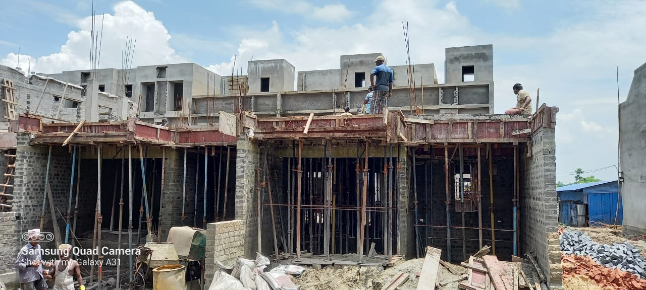 1st floor slab casting of row house no. 185 and 186 have been completed as on 18.07.2021