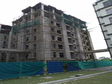 BLOCK - 25 :  Roof slab shuttering work in progress and 5th floor brick work completed as on 02.08. 2021
